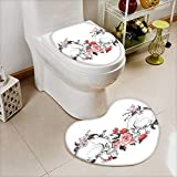 L-QN 2 Piece Toilet lid Cover Toilet mat Collection Roses Skull Feast All Saints Catholic Tradition Illustration Art Print High Density Space Memory Cotton
