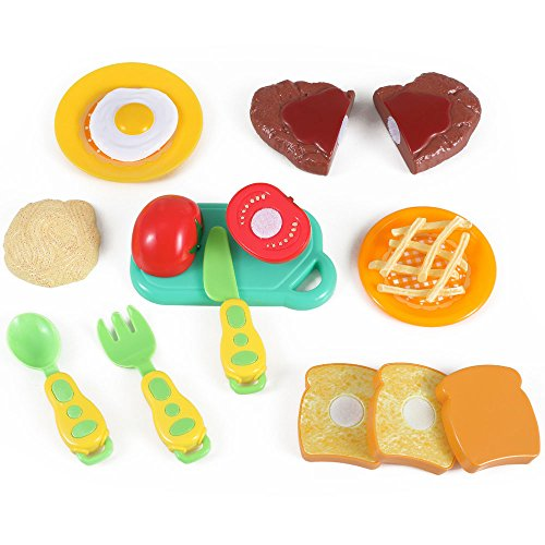 Price comparison product image Liberty Imports Kitchen Fun Steak and Egg Dinner Cutting Food Playset for Kids