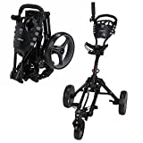 Caddymatic Golf 360° SwivelEase 3 Wheel Folding Golf Cart (Black/Gray)