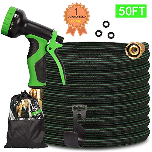 CherishGard 50ft Garden Hose, Upgraded Expandable Lightweight Weaving Water Hose with 9 Function Spray Nozzle, Durable Triple Latex Core with 3/4″ Solid Brass, Flexible Hose for All Outdoor Watering