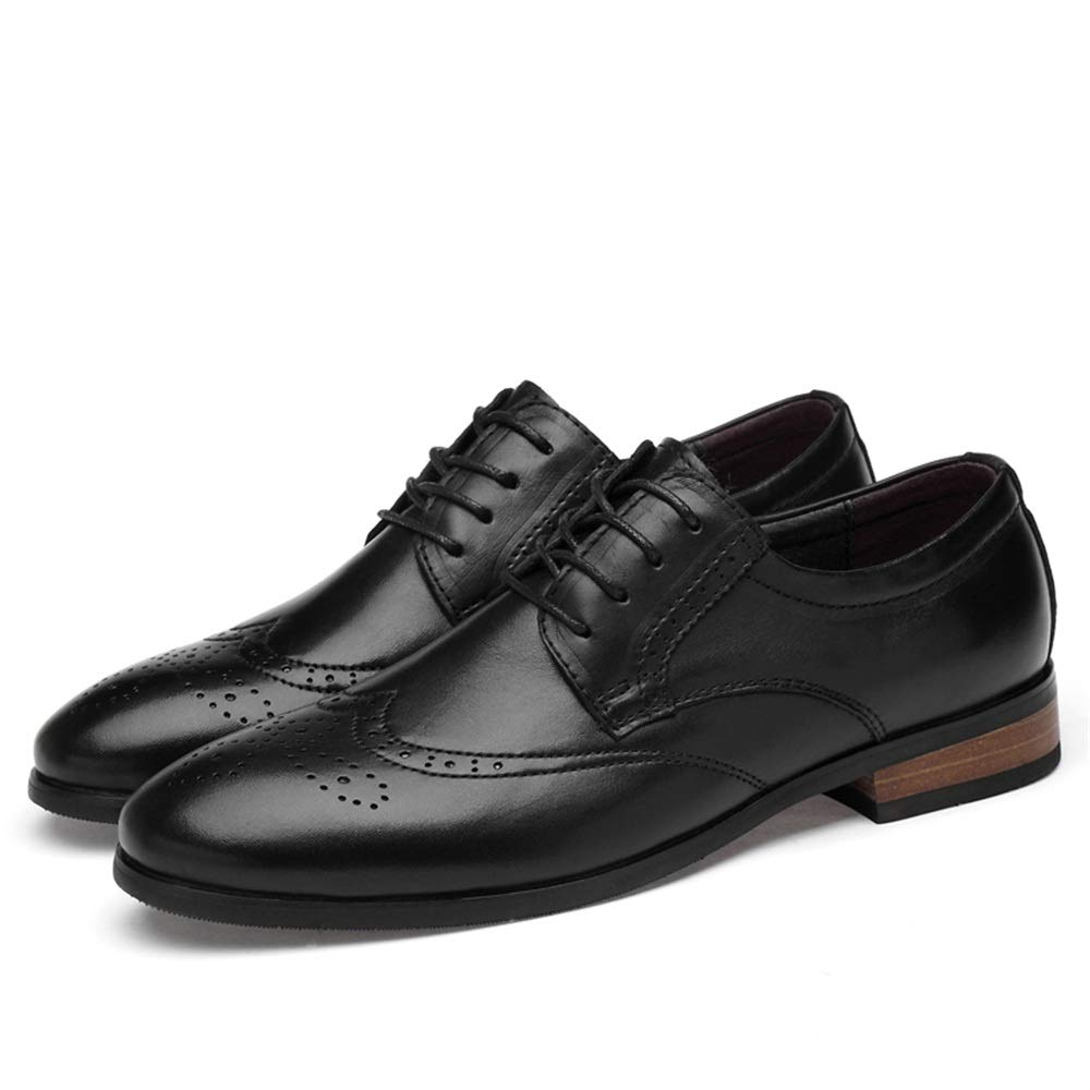 Black Men's Genuine Leather Brogue Carving shoes Businees Dress Wedding Fashion Loafers Anti-Slip Flat Breathable Round Toe Lace Up Cricket shoes
