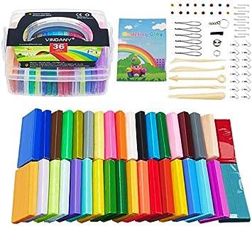 Vindany 36 Colores Arcilla polimérica Modelado de Arcilla Kit de Arcilla bicarbonato Suave no tóxico, Bricolaje con Herramientas y Caja de Almacenamiento Navidad para niños: Amazon.es: Juguetes y juegos
