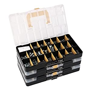 """Deluxe Hardware Assortment Kit with Professional """"No Mix"""" Case (1,300 piece, 60 Sizes, Nuts, Bolts, Washers & Screws)"""
