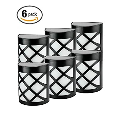 Pack of 6 Retro 6 LEDs Solar Powered Outdoor Fence Light, Wall Mount Outdoor Path Light for Deck Post Stairs Steps Gutter Patio Pond Pool