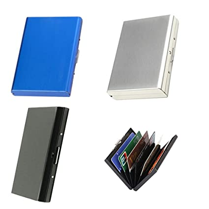 Stainless Steel Wallet bank Card Holder Case 6 Slot Protection RFID Blocking
