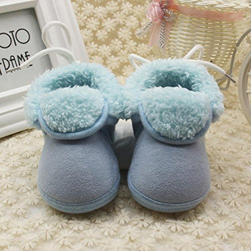 Igemy Kleinkind Neugeborene Baby Solid Soft Sole Stiefel Prewalker Warm Schuhe 1 Paar Blau