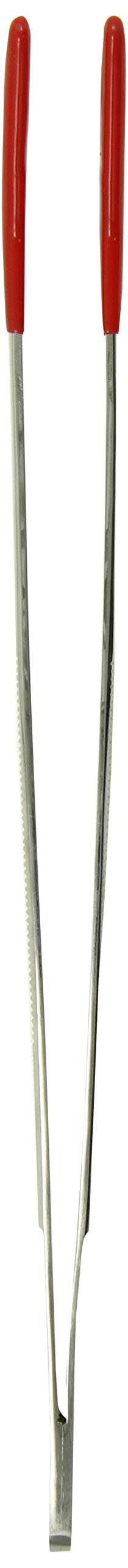 TAMSCO Tweezers 12-Inch Stainless Steel Angled Tip Serrated Tip Blunt Point