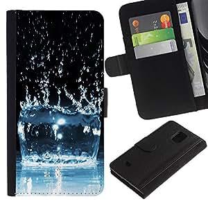 Lead-Star (Water Effect Splash) Colorida Impresión Funda Cuero Monedero Caja Bolsa Cubierta Caja Piel Card Slots Para Samsung Galaxy S5 Mini / SM-G800 (Not For S5!!!)