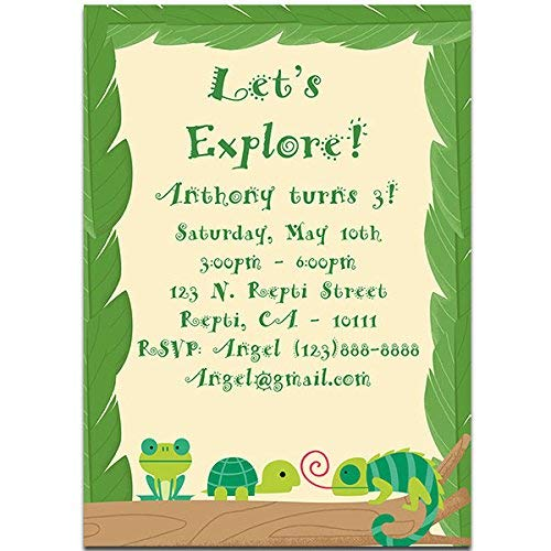 Amazon Com Reptile And Frog Birthday Party Invitations Handmade