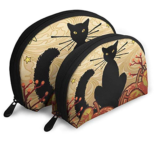 - Moonlight Cat - Decorative Black Pumpkin Halloween Fall Spooky USA Portable Bags Clutch Pouch Storage Bag Coin Purse Travel Bag Handbag Women's Bag One Big One Small Cosmetic Bag