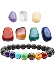 Top Plaza 7 Chakra Healing Crystals Yoga Balance Irregular Polished Tumbled Palm Stones Set W/7 Chakra Balancing Energy Stone Bracelet