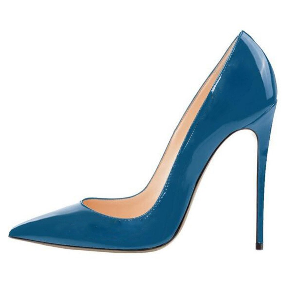 Jushee Damen Sexy Klassische Schwarz Stiletto High Heels Kleid Buuml;ro Pumps45 EU/12 UK/14 US|Blau