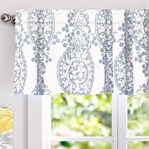 DriftAway Samantha Window Curtain Valance, Floral/Damask Medallion Pattern, Rod Pocket, 52