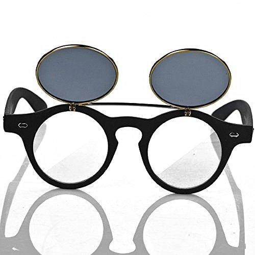 Flip Steampunk talla para negro Retro círculo concha gafas sol tamaño gafas de única hombre doble Vintage gafas de Up color negro de OEqdqxw