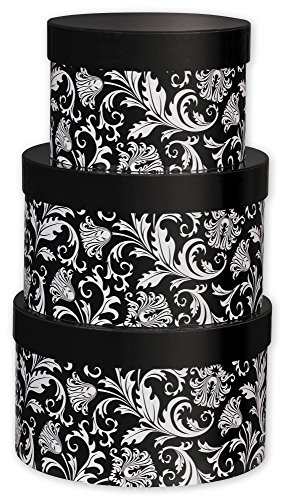Nested Boxes Specialty & Event Boxes - Damask 3-Piece Nested Box Sets, Round (1 set of 3 nested boxes) - BOWS-NBS-DM
