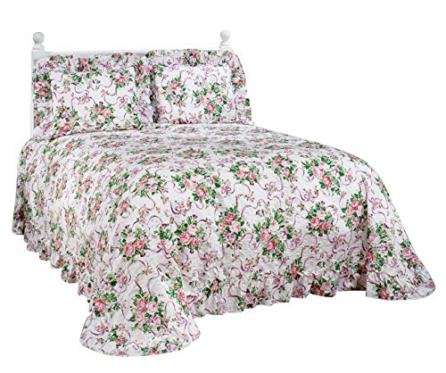 Ribbons and Roses Plisse Bedding (Comforters Flowered)