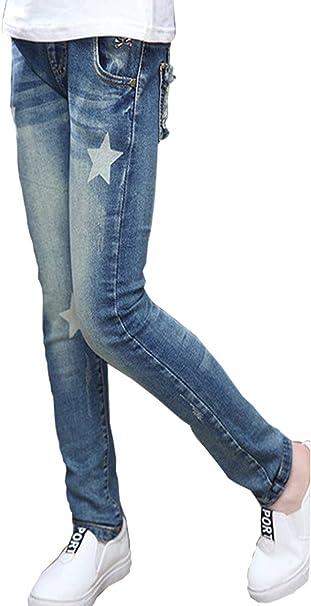 NABER Kids Girls Casual Elastic Waist Denim Pants Slim Fit Jeans Age 4-13 Years