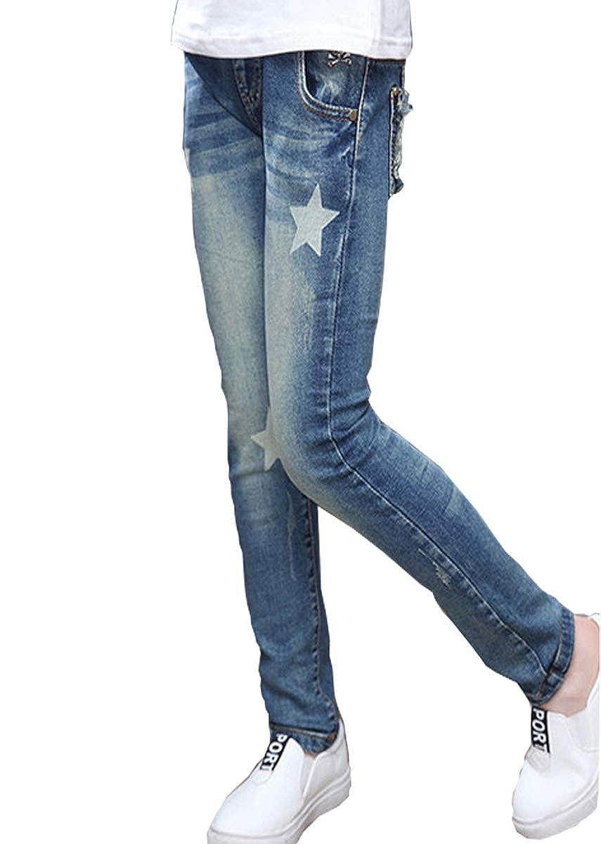 LittleXin Kids Girls Stars Printed Elastic Washed Denim Pants Jeans Age 4-14 Y