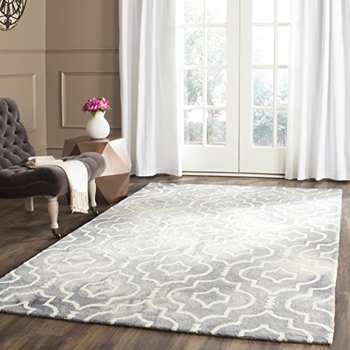 Safavieh Dip Dye Collection DDY538C Handmade Geometric Moroccan Watercolor Grey and Ivory Wool Area Rug (5' x 8')