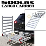 Generic V SUV 500LBS HD Hitch Mount Al Aluminum Storage Folding Cargo Carrier Platform RV SUV 2'' Hitch Mount 500LBS HD Folding Cargo Carrie