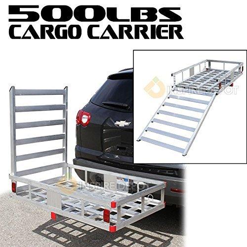 Generic V SUV 500LBS HD Hitch Mount Al Aluminum Storage Folding Cargo Carrier Platform RV SUV 2'' Hitch Mount 500LBS HD Folding Cargo Carrie