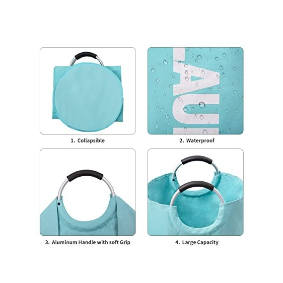 """82L Large Laundry Basket Collapsible Fabric Laundry Hamper Tall Foldable Laundry Bag Handles Waterproof Washing Bin Clothes Bag Travel Shopping Bathroom College Essentials Storage (Light Blue,L) - ALUMIUM HANDLE WITH SOFT GRIP - The handle design of laundry baskets is very comfortable and reinforced for easy carrying. It is suitable for most situations use, such as closet, college dorms, apartments, baby nurseries, utility room office for toys, books, CDs, clothes, underwear storage. DOUBLE LAYER 600D OXFORD FABRIC - While other laundry bins may rip and spilt under pressure, ours is crafted from heavy-duty double-layered 600D Oxford fabric and thick PE coating in the bottom. The hampers are waterproof and durable. 100L LARGE CAPACITY & FOLDABLE - Using size 15""""(L) x 15""""(W) x 28""""(H) / 38 x 38 x 72cm. Folded size 15"""" (L) x 15""""(W) x 1.2""""(H) / 38 x 38 x 3cm. The calculated volume of the dirty clothes basket is 81L, but it can hold up to 100L clothes. It can meetboth large capacity and save storage spaces such as luggage and drawers. - laundry-room, hampers-baskets, entryway-laundry-room - 51cC4SVzAyL. SS570  -"""