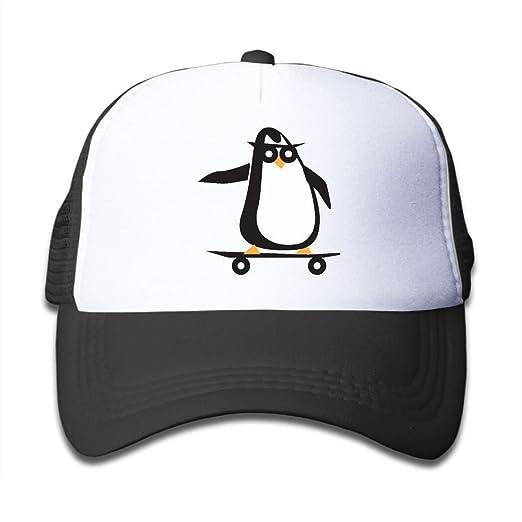 Amazon.com  Skateboard Clipart Penguin On Boys and Girls Trucker Hat ... 5569c59f96e