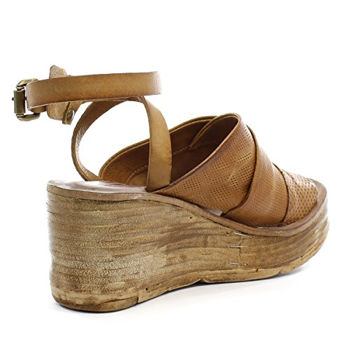 As98 Niall Womens Sandalo Con Zeppa Duna / Natur
