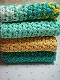 Aqua Turquoise Yellow Spa Bath Set, Housewarming Hostess, Washcloths, Cotton Washcloth, Crochet Bathroom Set, Gift Set for Her, Hostess Gift, Bath & Beauty Set, Spa Bath & Beauty, Back to School Gift