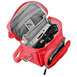 Orzly High Quality Multi Shoulder Bag for ​ Nintendo DS (Suitable for Versions of DS with a folding screen): DS / DS Lite / 3DS / 3DS XL / New 3DS / New 3DS XL / 2DS XL)- Portable Bag with Carry Handle and Adjustable Shoulder Strap + Belt Clip – Red