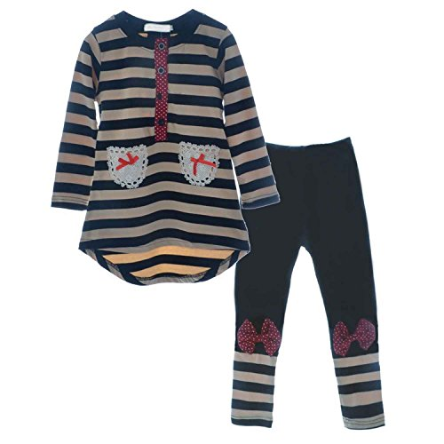 little Girls Cute Long Sleeve Top   Pant Clothes Set Black1