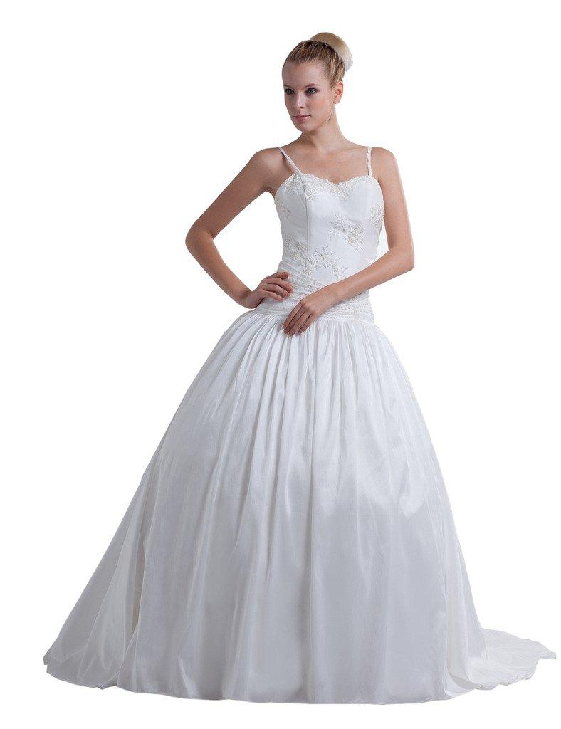 OrnateDress Women's Sleeveless Princess Strapless Satin Fine Netting Zipper Wedding Dresses White 20