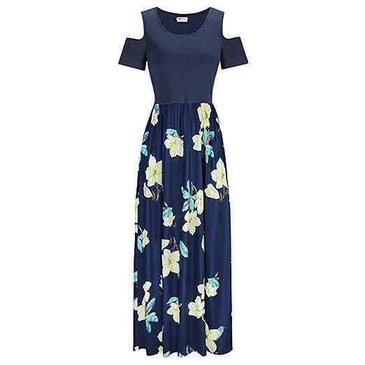 Amazon.com: UNSHOU Vestido largo de verano con hombros ...