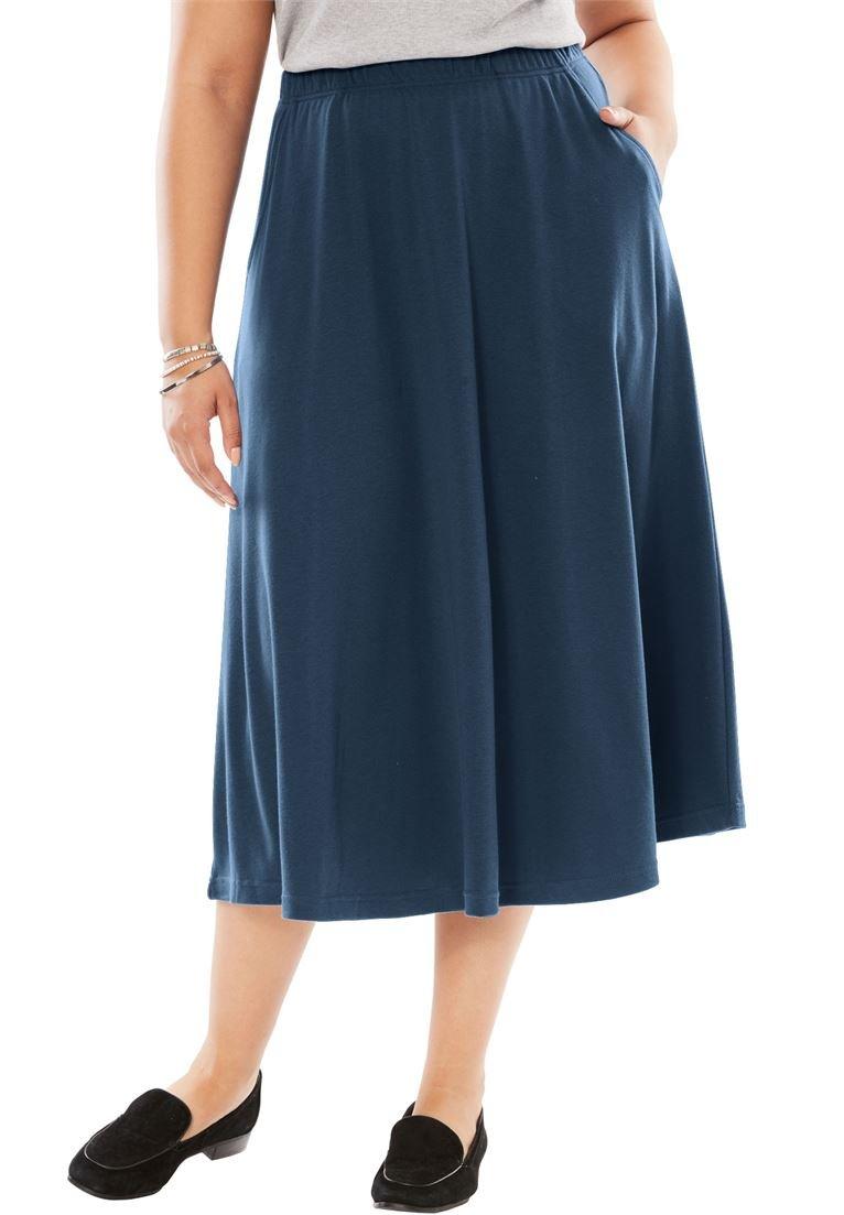 Women's Plus Size 7-Day Knit A-Line Skirt Navy,2X