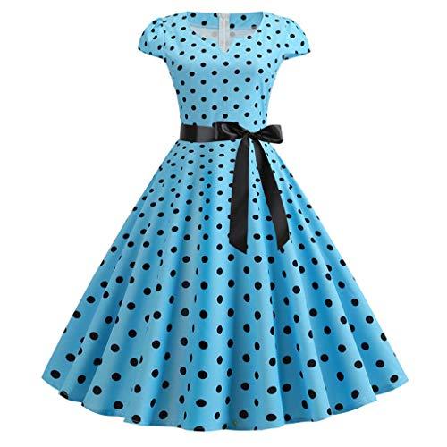 Sunhusing Ladies V-Neck Short Sleeve Polka Dot Printed Waist Belt Lace-Up Elegant Large Swing Dress Prom Dress Blue ()