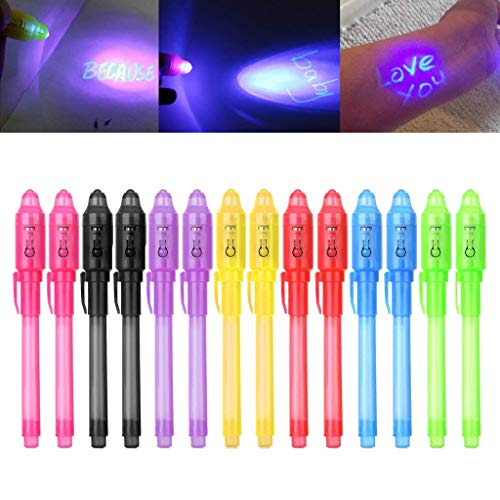 PIKAqiu33 Premium Invisible Ink Pen, 2019 Upgraded Pen Invisible Ink Pen with UV Light Magic Marker,with UV Light Invisible Write Detective Party,for Secret Message and Kids Halloween Goodies Bag -
