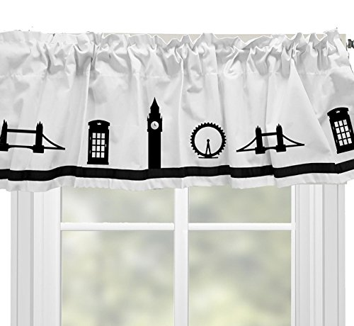 en London Eye Bridge British Telephone Booth Window Valance Curtain - In Your Choice of Colors - Custom Made (British Valance)