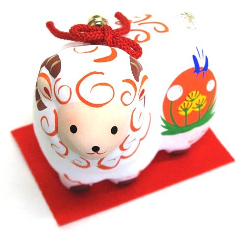 Japanese-made luckµ•ŸNot sheep papier-mache swing sheep ( small )