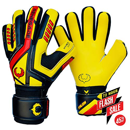 Renegade GK Talon Ignite Negative Cut Level 2 Mens & Womens Goalie Gloves with Fingersaves - Fingersave Goalkeeper Gloves Soccer - Goalie Gloves Size 11 Black, Yellow, Red