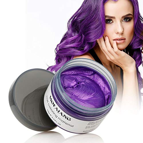 (MOFAJANG Hair Color Wax Styling Cream Mud, Temporary Hair Dye Wax, Natural Hairstyle Dye Pomade for Party Cosplay, Halloween, 4.23 OZ, Purple)