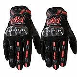 Sdcvopl Protective Gloves Motorcycle Full Finger Carbon Fiber Gloves for Motorbike Cycling Racing Hiking Ventilation (Color : Red, Size : M)