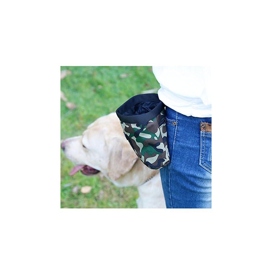 Xiaolanwelc@ Pet Dog Training Bags Camouflage Oxford Puppy Dog Food Treat Pockets Outdoor Walking Dog snack Reward Waist Bag Garbage Bag (Green)