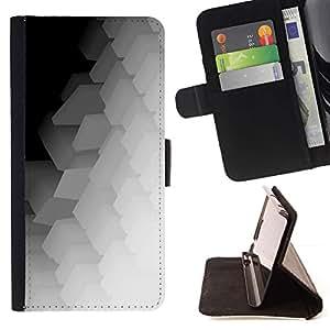 Momo Phone Case / Flip Funda de Cuero Case Cover - Patrón Polígono Music Art Blanca - Huawei Ascend P8 (Not for P8 Lite)