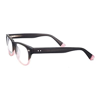 cdbc2f95dd4b Amazon.com: Round Oval Lens Frosted Frame Two Colored Fashion Style Non  Prescription Eyeglasses (Black/Pink): Clothing