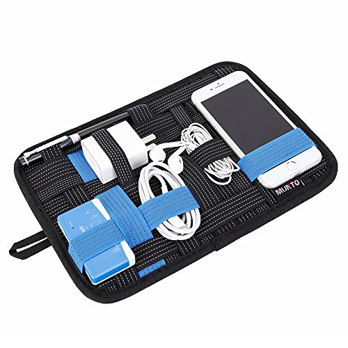 MUNTO Travel Electronics Elastic Organizer Board Management Bag for Gadget, Charge Cable, Power Bank, Earbud and USB Flash Drive