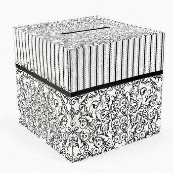Cardboard Black And White Wedding Card Box by Fun Express