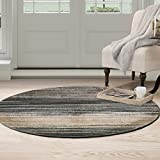 Cheap Bedford Home Opus Dark Abstract Stripes Area Round Rug, 5′, Blue