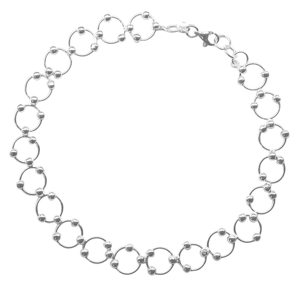 Sterling Silver 9-inch Comfortable Hoop & Bead (Beaded Circle Link) Anklet - Summer Jewelry