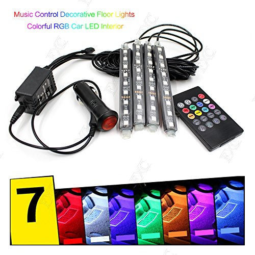 7 Color 9 LED Music Control Remote Control Car LED Interior Lights Floor Decorative Atmosphere Neon Lights Kit with Sounds-activated & Wireless IR Remote Control (Music Control)