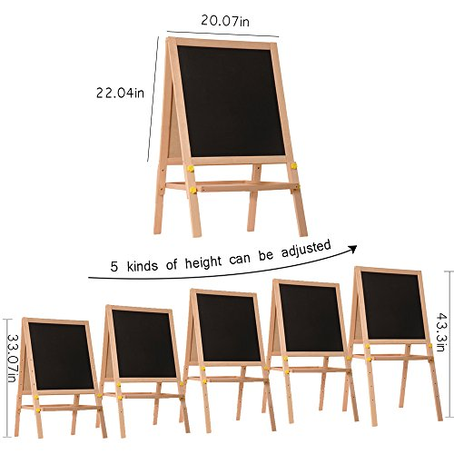 Kids Standing Art Easel Wooden Double Sided Adjustable Height Magnetic Drawing Board with Tray and Accessories by YIRAN (Image #1)